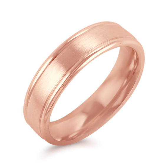 14k Rose Gold Wedding Band with Satin and Polished Finish (6mm)