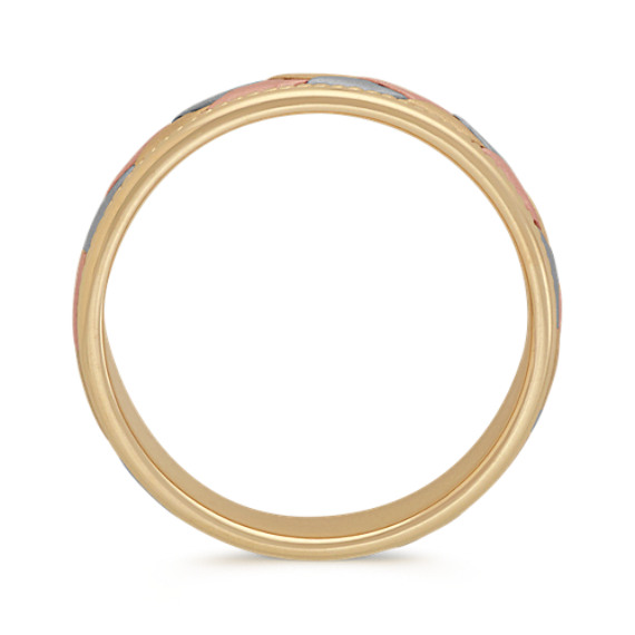 14k Tri-Tone Comfort Fit Woven Men's Band (8mm)