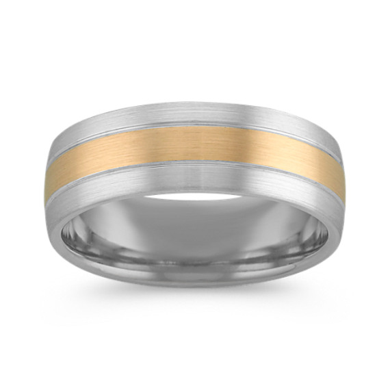 14k Two-Tone Gold Comfort Fit Men's Band (7mm)