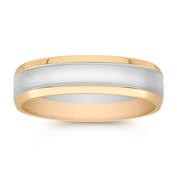 14k Two-Tone Gold Comfort Fit Ring (6mm)