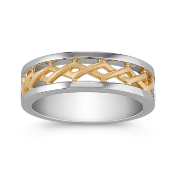 14k Two-Tone Gold Woven Ring (6mm)