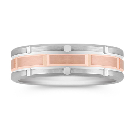 14k White and Rose Gold Comfort Fit Ring (8mm)