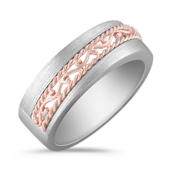 14k White and Rose Gold Engraved Ring with Sandblasted Finish (8mm)