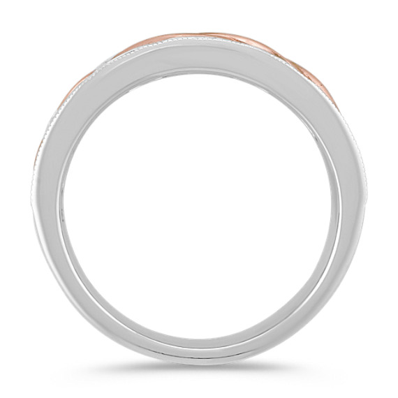 14k White and Rose Gold Engraved Ring (8mm)