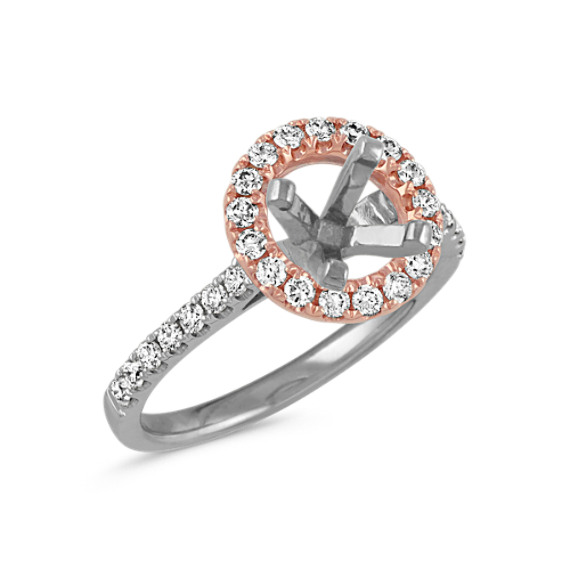 14k White and Rose Gold Round Halo Diamond Engagement Ring