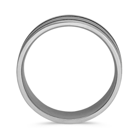 14k White Gold Band with Black Rhodium and Brushed Finishes (8mm)