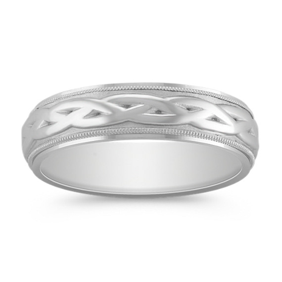 14k White Gold Comfort Fit Engraved Ring (6.5mm)