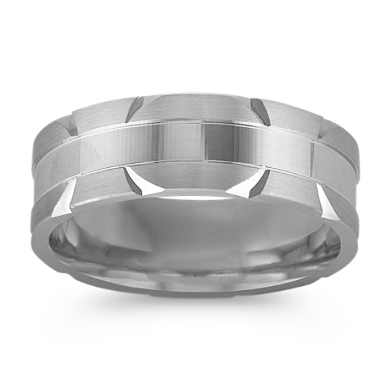 14k White Gold Comfort Fit Engraved Ring (7mm)