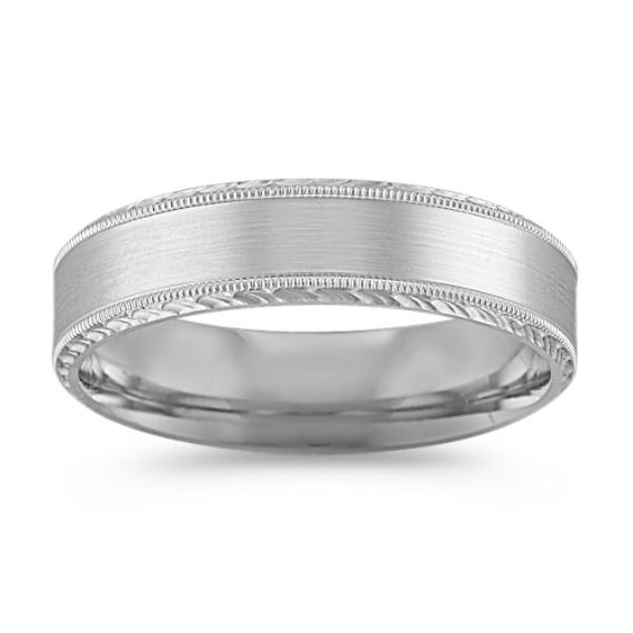 14k White Gold Comfort Fit Ring with Satin Finish (6mm)