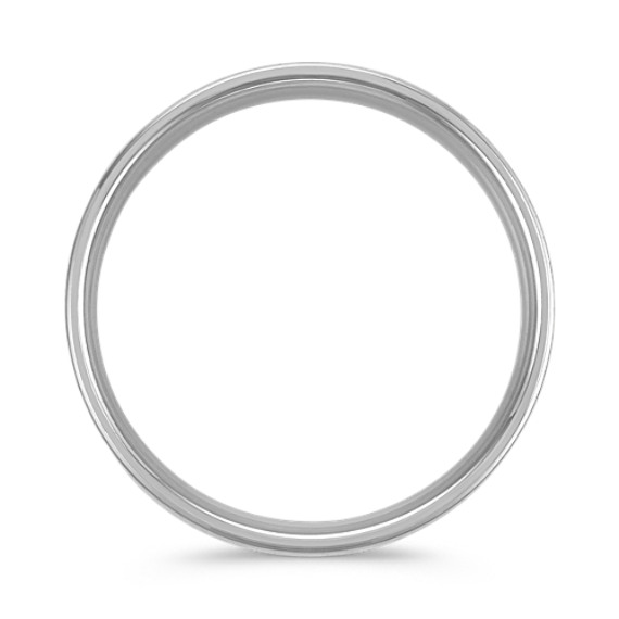 14K White Gold Comfort Fit Wedding Band with Satin Finish (6mm)