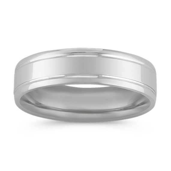 14k White Gold Comfort Fit Wedding Band (6mm)