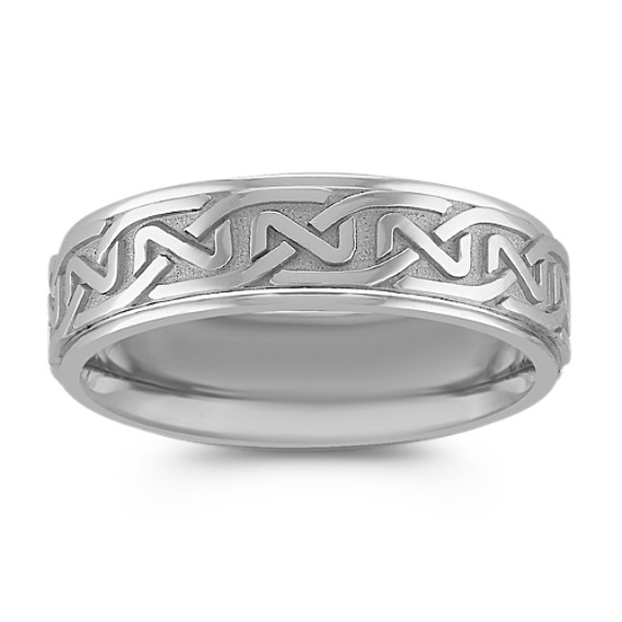 14k White Gold Engraved Comfort Fit Ring (7mm)