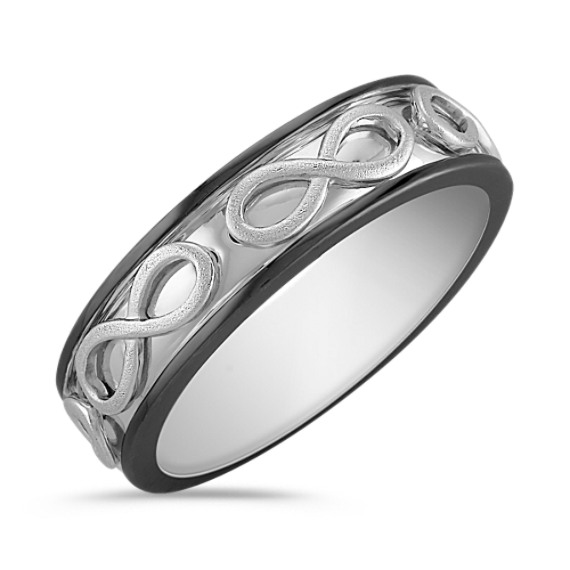 14k White Gold Engraved Infinity Ring with Black Rutheninum