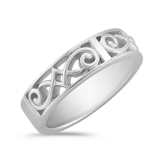 14k White Gold Engraved Ring with Satin Finish (7mm)