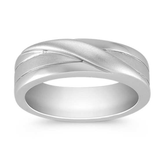 14k White Gold Engraved Ring (6.5mm)