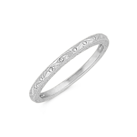 14k White Gold Engraved Wedding Band