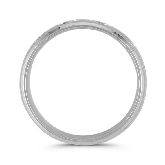 14k White Gold Men's Band with Polished and Satin Finishes (6MM)