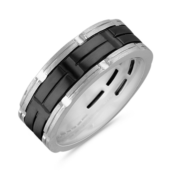 14k White Gold Ring with Black Rhodium (8mm)
