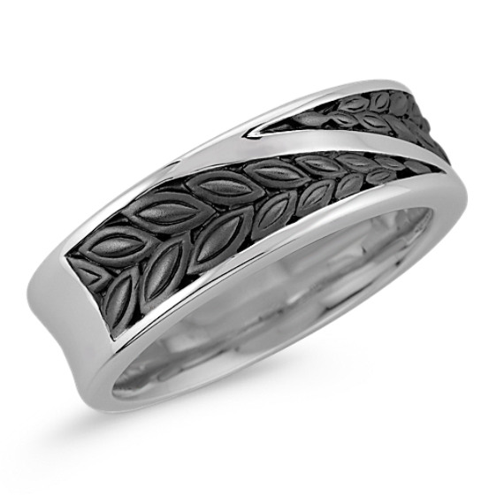 14k White Gold Ring with Black Ruthenium (6mm)