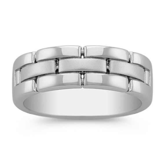 14k White Gold Ring with Sandblasted Finish (7mm)