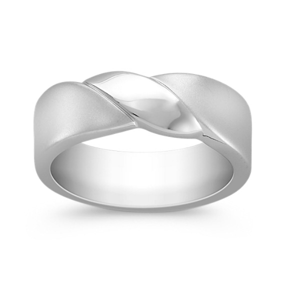 14k White Gold Ring with Sandblasted Finish (7mm)