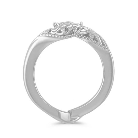14k White Gold Solitaire Engagement Ring Engraved Guard