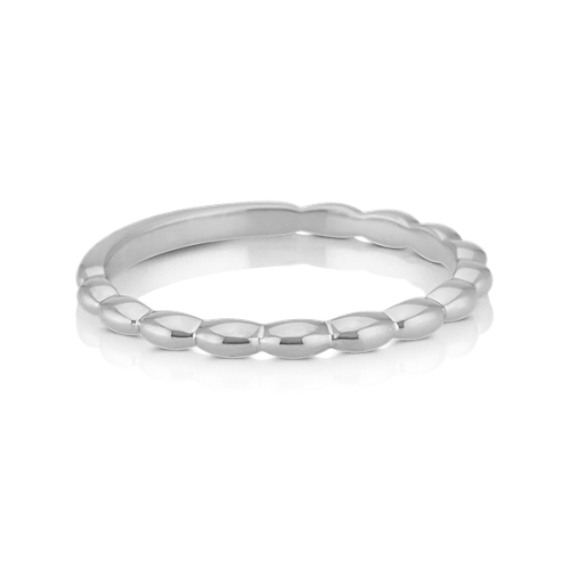 14k White Gold Stackable Ring with Scalloped Edges