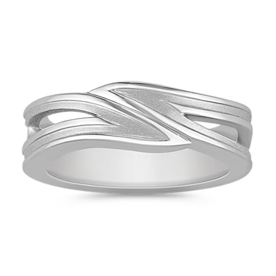 14k White Gold Swirl Ring (8mm)