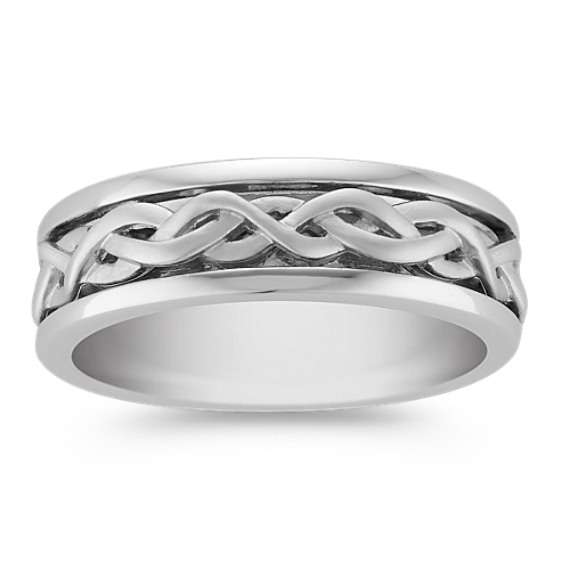 14k White Gold Twist Ring (7mm)