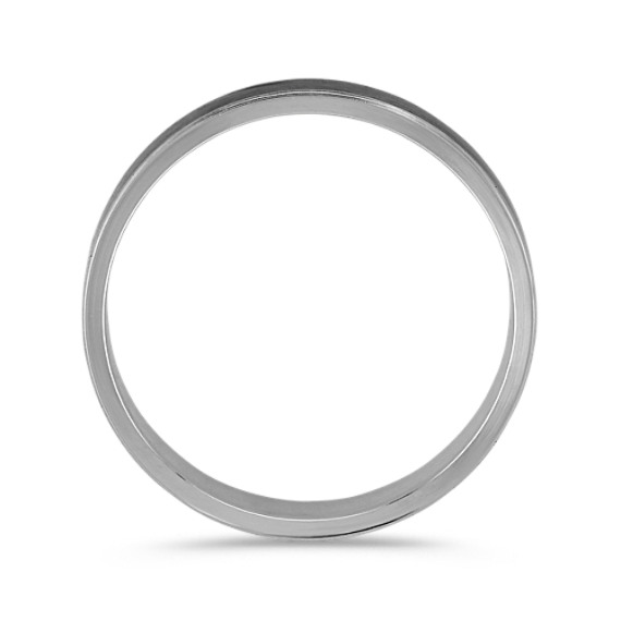 14k White Gold Wedding Band with Black Rhodium for Him (6mm)