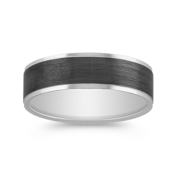 14k White Gold Wedding Band with Black Rhodium (6mm)