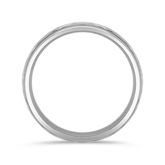 14k White Gold Wedding Band with Engraving (7mm)