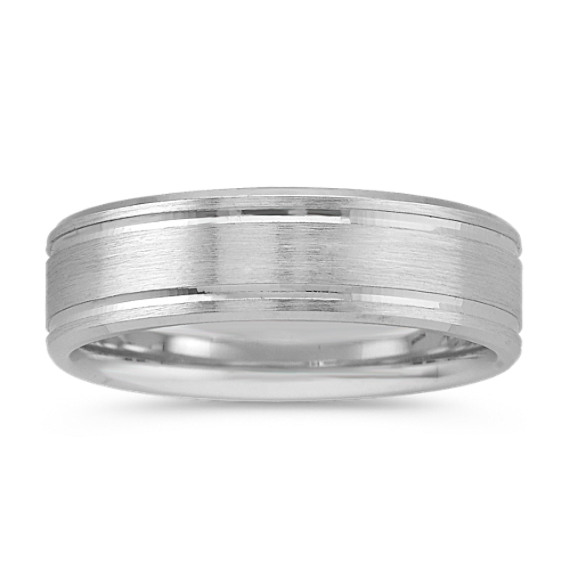 14k White Gold Wedding Band with Satin Finish (7mm)