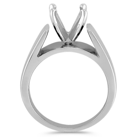 14k White Gold Wide Cathedral Engagement Ring