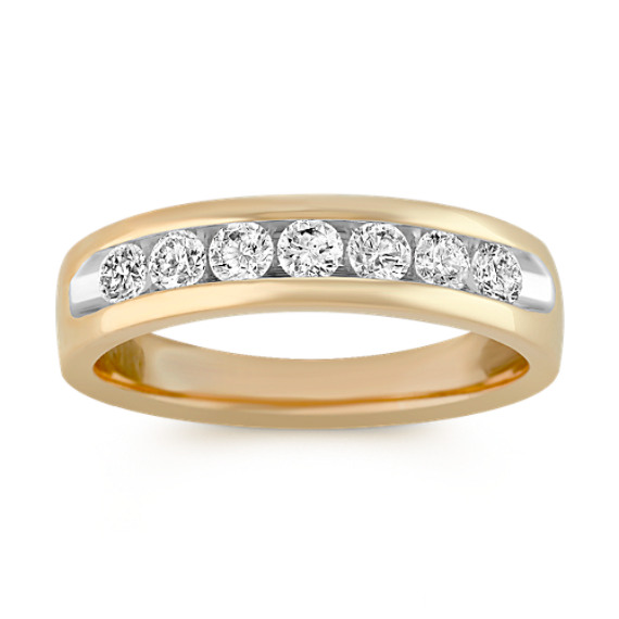 14k Yellow Gold Diamond Ring with Channel-Setting
