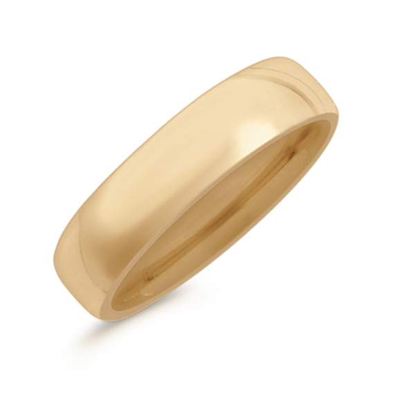 14k Yellow Gold Euro Comfort Fit  Wedding Band (6.5mm)