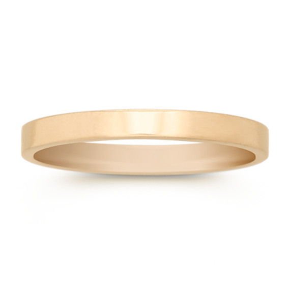 14k Yellow Gold Flat Wedding Band (2mm)