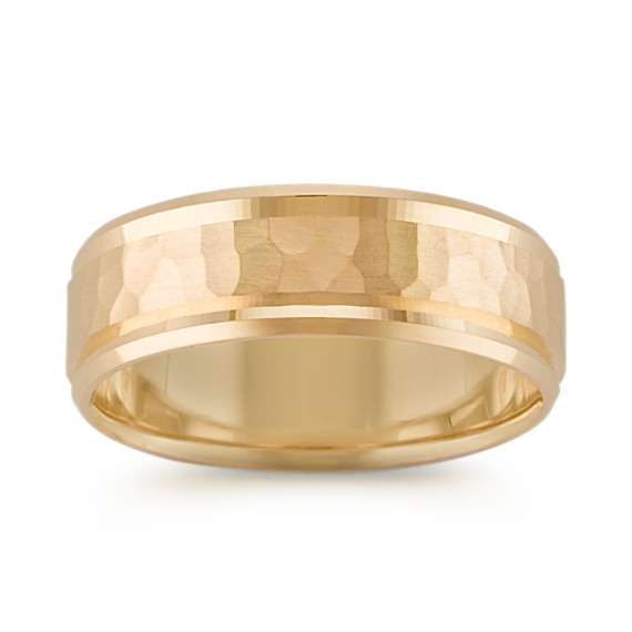 14k Yellow Gold Ring with Hammered Finish