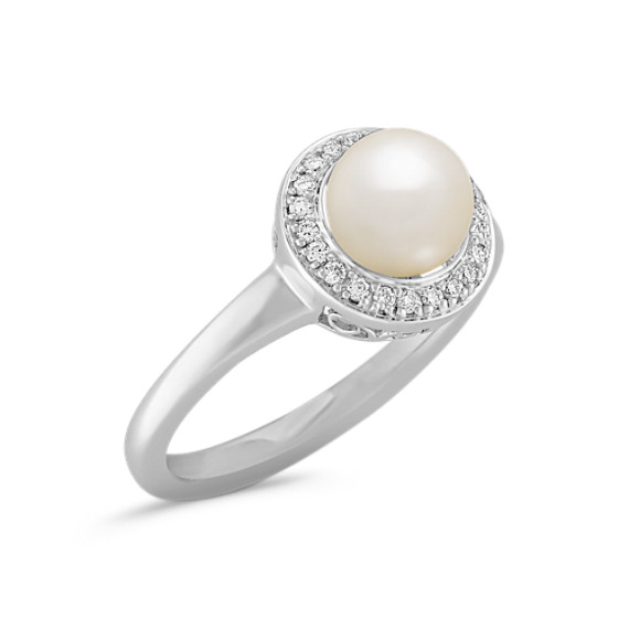 6.5mm Cultured Freshwater Pearl and Diamond Ring