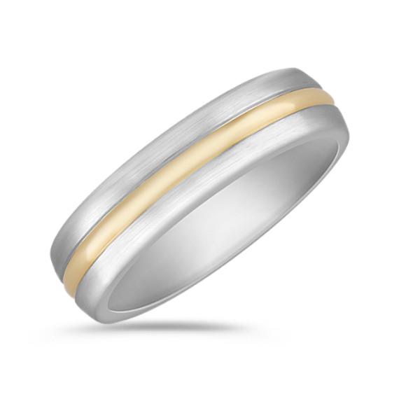 6mm Wedding Band in Titanium and 18k Yellow Gold