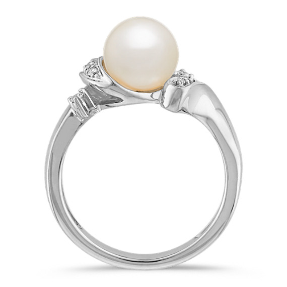 7.5mm Cultured Akoya Pearl and Round Diamond Ring