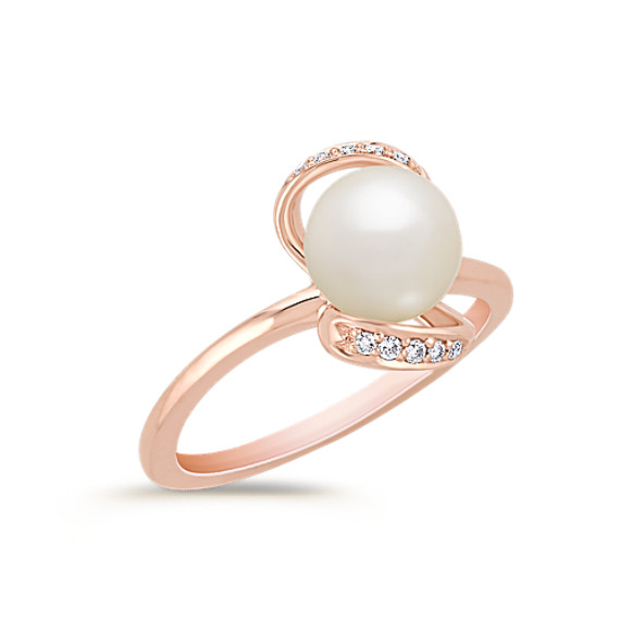 7.5mm Cultured Freshwater Pearl and Round Diamond Ring in Rose Gold