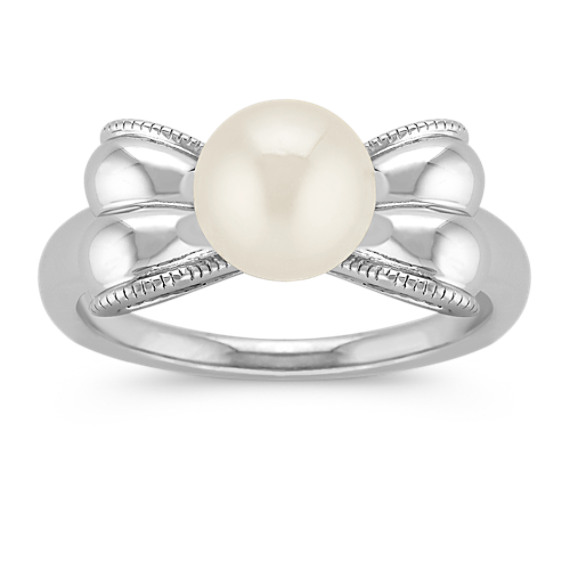 7.5mm Cultured Freshwater Pearl in Sterling Silver Bow Ring