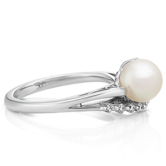7mm Cultured Akoya and Round Diamond Ring
