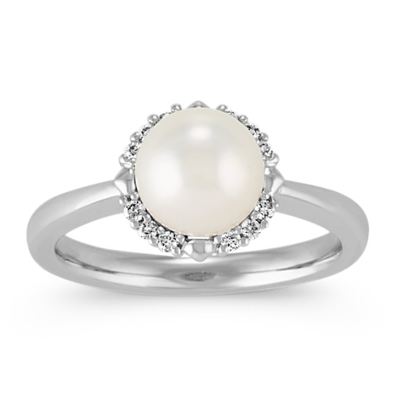 7mm Cultured Akoya Pearl and Diamond Halo Ring in 14k White Gold