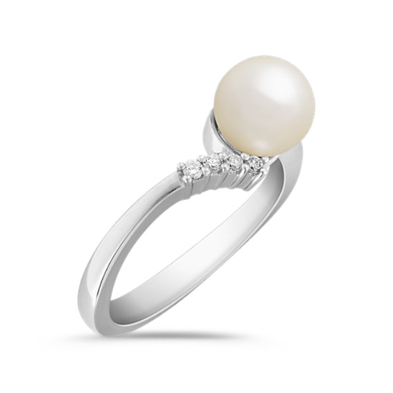 7mm Cultured Akoya Pearl, Centered, and Round Diamond Ring