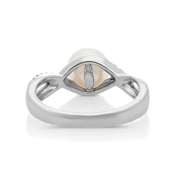 7mm Cultured Akoya Pearl Infinity Ring with Round Diamonds