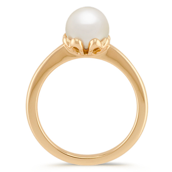 7mm Cultured Akoya Pearl Ring in 14k Yellow Gold