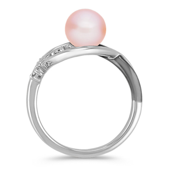 7mm Cultured Pink Freshwater Pearl, Diamond and Black Rhodium Ring