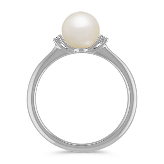 7mm Freshwater Pearl and Diamond Fashion Ring